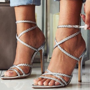 Women's Patent Leather Open Toe Stiletto Sandals Ankle Strap Heels