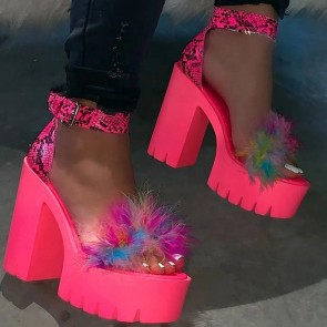Women's Platform Chunky Heels Peep-toe Sandals With Fur