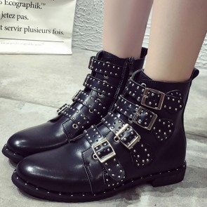 Women's PU Ankle Boots With Metal Rivet Buckle