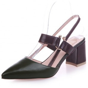 Women's PU Chunky Heel Sandals Flats Closed Toe With Buckle