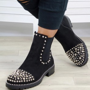 Women's Round Toe Low Heel Ankle Boots With Rivet Zipper Shoes