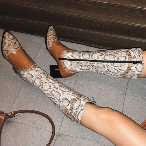 Women's Snakeskin Print Pointed Toe Low Heels Boots