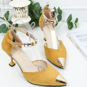 Women's Stiletto Heel Sandals Pumps Closed Toe With Sequin Shoes