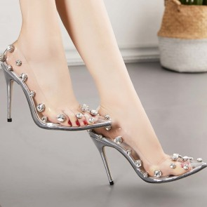 Women's Stiletto Heels Cap-Toe Nude Transparent Shoes With Beaded