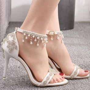 Women's Stiletto Heels Open-toe Glitter Wedding Shoes