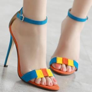 Women's Suede Color-block Open Toe Stiletto Sandals Heels