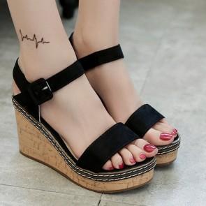 Women's Suede Wedge Heel Sandals With Buckle