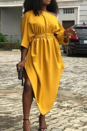Yellow One-Shoulder Asymmetric Dress