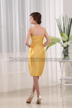Yellow Taffeta Cocktail Party Short Bridesmaid Dresses