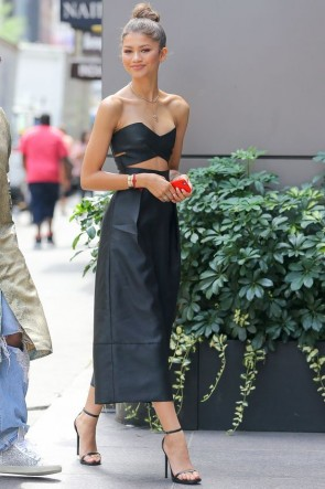 Zendaya Black Strapless Cut Out Jumpsuit In New York