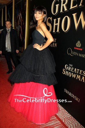 Zendaya Coleman Black And Red Strapless Ball Gown The Greatest Showman Premiere TCD7659