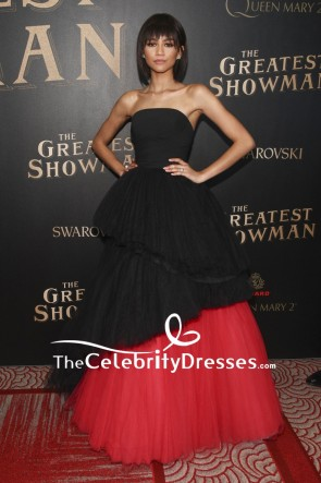 Zendaya Coleman Black And Red Strapless Ball Gown The Greatest Showman Premiere