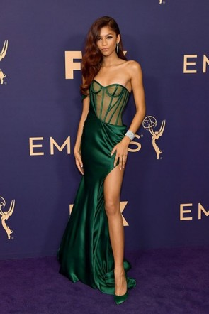 Zendaya Sexy Dark Green One Shoulder Slit Dress 2019 Emmys Awards