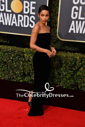 Zoë Kravitz Black Strapless Velvet Evening Dress 2018 Golden Globe Awards Red Carpet TCD7663