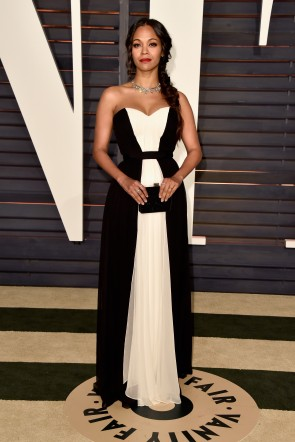 Zoe Saldana 2015 Vanity Fair Party Black White Chiffon Evening Dress