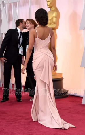Zoe Saldana Soft Pink Formal Evening Dress 2015 Oscars Red Carpet
