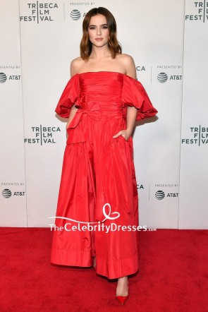 Zoey Deutch Red Off-the-shoulder Evening Dress Tribeca Film Festival Premiere Of 'Buffaloed'