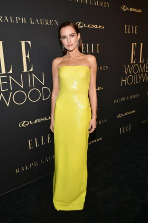 Zoey Deutch Yellow Strapless Prom Dress 2019 Elle Women in Hollywood celebration