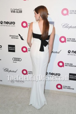 Zoey Deutch White And Black Deep V-neck Evening Prom Gown Elton John AIDS Foundation's 2015 Oscar TCD7068