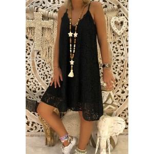 V-Neck Sleeveless Lace Dress