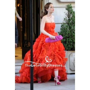 Blair Waldorf Red Strapless Ruffled Prom Dress In Gossip Girl