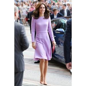 Kate Middleton Lavender Elegant Long Sleeves Cocktail Dress Official Visit To Germany