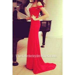 Elegant Red Off The Shoulder Prom Gown Evening Dress