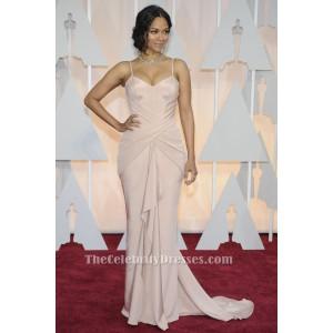 Zoe Saldana Soft Pink Formal Evening Dress 2015 Oscars Red Carpet