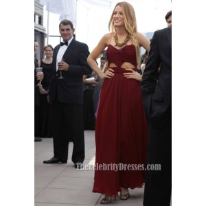 Blake Lively Burgundy Spaghetti Straps Prom Evening Dress Gossip Girl TS3729