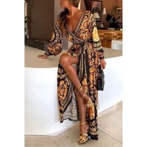 Boho V-neck Printed Dress