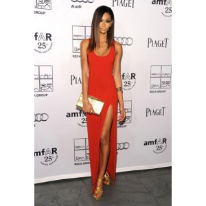 Chanel Iman Sexy Red Prom Gown Evening Dress 2nd Annual amfAR Inspiration Gala