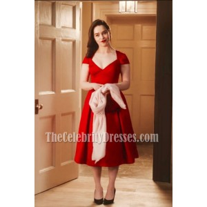 Emilia Clarke Red Cap Sleeves Short Party Dress In Movie Me Before You 3