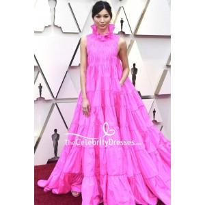 GEMMA CHAN Hot Pink Sleeveless Ball Gown OSCARS 2019 Red Carpet