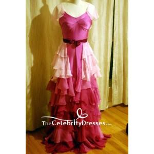 Hermione Granger Yule Ball Pink Ruffled V-neck Evening Dress Harry Potter