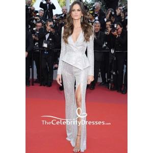 Izabel Goulart Silver Sequins Low V-neck Evening Suit 2019 Cannes Film Festival
