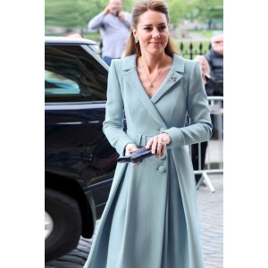 Kate Middleton A-line Lapel Casual Trench Coat With Long Sleeves
