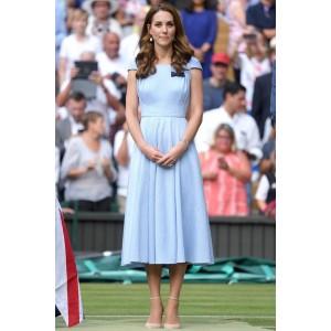 Kate Middleton Midi Light Sky Blue Dress With Cap Sleeves Wimbledon 2019