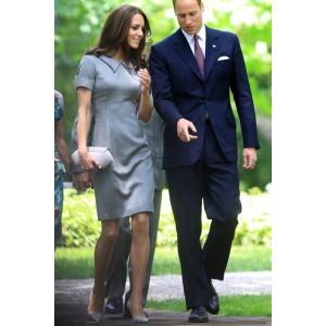 Kate Middleton Princess Elegant Gray Dress Canadian War Museum