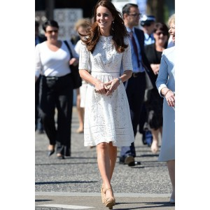 Kate Middleton Elegant Knee Length White Lace Cocktail Party Dress