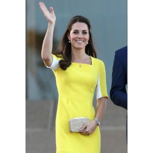 Kate Middleton Yellow Square Neck Short Sleeves Fashion Dress Duchess of Cambridge Recycles