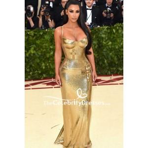 Kim Kardashian Gold Sequin Formal Dress 2018 Met Gala