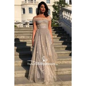 Priyanka Chopra A-line Sparkly Formal Dress Royal Wedding Reception
