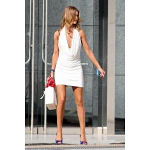 Rosie Huntington-Whiteley Short White Cocktail Dress Movie Transformers