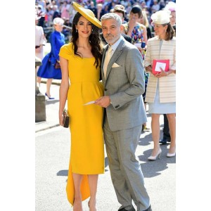 Amal Clooney Cape Sleeves Cocktail Dress Wedding of Prince Harry and Meghan Markle