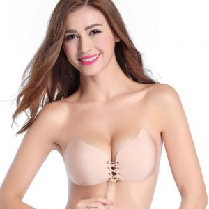 Sexy Nude Nylon Lace Backless Up Invisible Bra