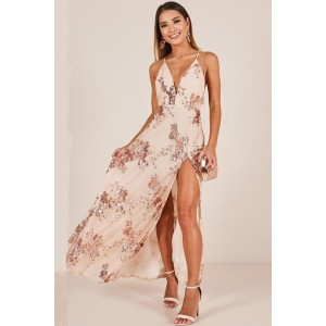 Sexy V-neck Sequined Thigh-high Slit Prom Dress