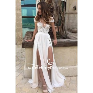 Sexy White Thigh-high Slit Cap Sleeves Lace Prom Dress