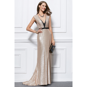 Sexy V-Neckline Backless Sequined Formal Dress Evening Gown TCDBF434