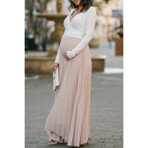 Two-tone Pleated Deep V-neck Long Sleeves Maxi Maternity Dress (1)