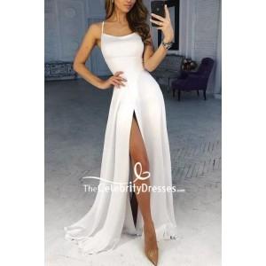 White Sexy Thigh-high Slit Prom Dress